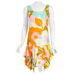 1960's Tropical Tiki Floral Print Cotton Sleeveless Drop-Waist Tiered Dress