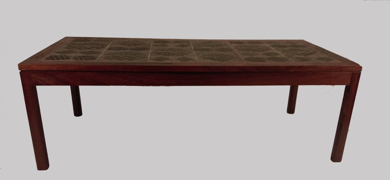 Tue Poulsen tile topped coffee table in rosewood signed by Danish artist Tue Poulsen.