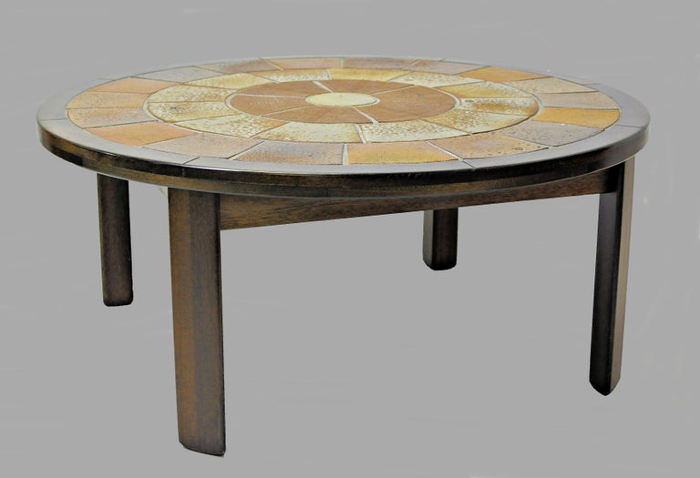 Tue Poulsen tile topped coffee table in tanned oak signed by Tue Poulsen.  The coffee table has been overlooked and refinished by cabinetmaker and is in very good condition.