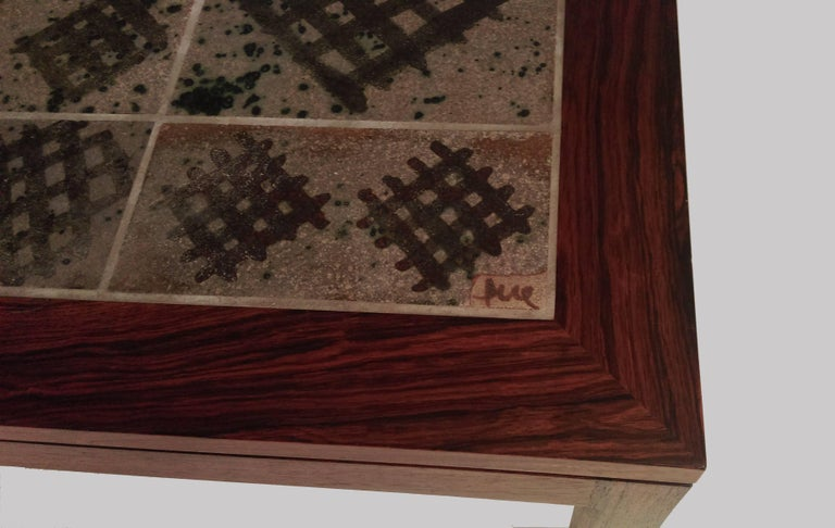 Scandinavian Modern 1960s Tue Poulsen Tile Topped Coffee Table in Rosewood
