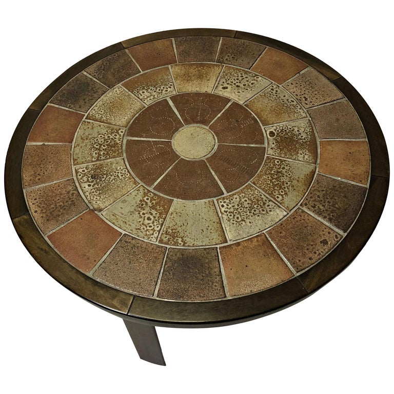 1960s Tue Poulsen Tile Topped Coffee Table in Tanned Oak For Sale
