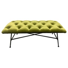 1960s Tufted Velvet and Wrought Iron Bench