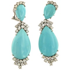 1960s Turquoise and Diamond Dangling Pair of Earring