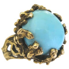 1960s Turquoise and Gold Statement Ring
