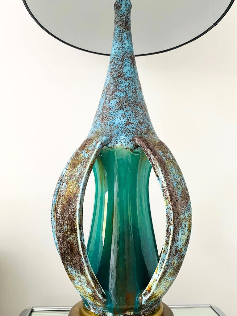 Danish 1960's Turquoise Blue Stoneware Pottery Lamp with Sculptural Form, Denmark For Sale
