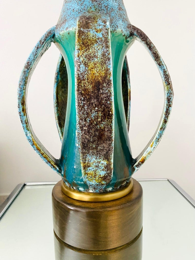 Glazed 1960's Turquoise Blue Stoneware Pottery Lamp with Sculptural Form, Denmark For Sale