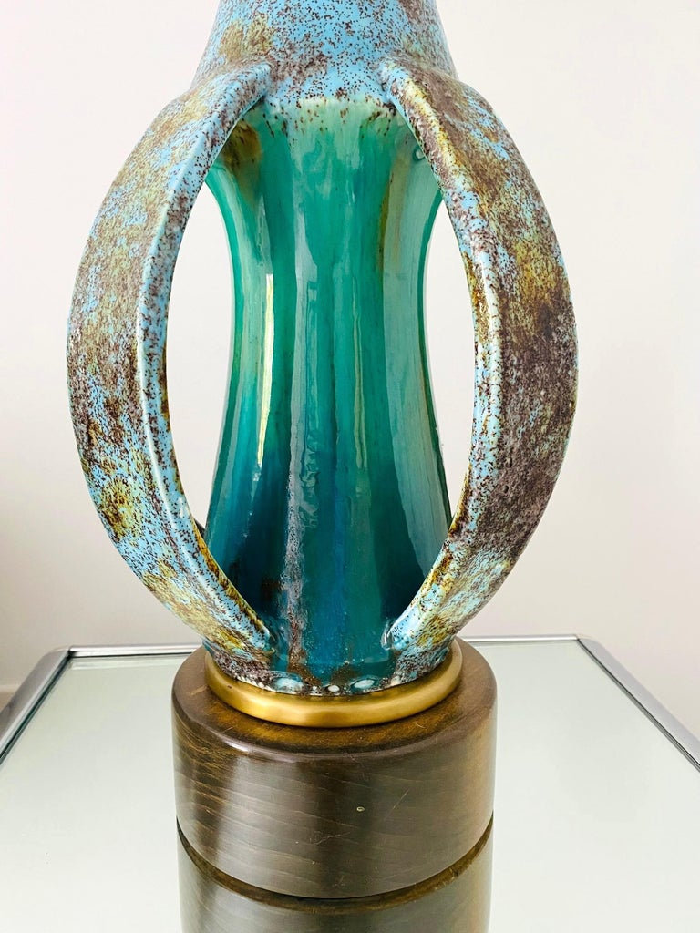 1960's Turquoise Blue Stoneware Pottery Lamp with Sculptural Form, Denmark In Good Condition For Sale In Fort Lauderdale, FL