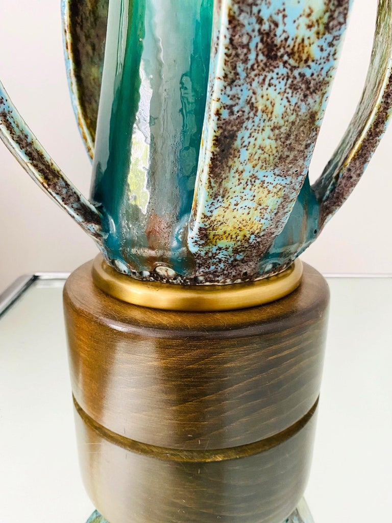 1960's Turquoise Blue Stoneware Pottery Lamp with Sculptural Form, Denmark For Sale 1