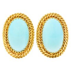 1960s Turquoise Cabochon 14 Karat Gold Earrings Twisted Rope Earrings