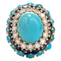 1960s Turquoise Diamond and Sapphire Clip-On Gold Cocktail Ring