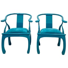 1960s Turquoise Lacquered Ming Style Chairs, a Pair