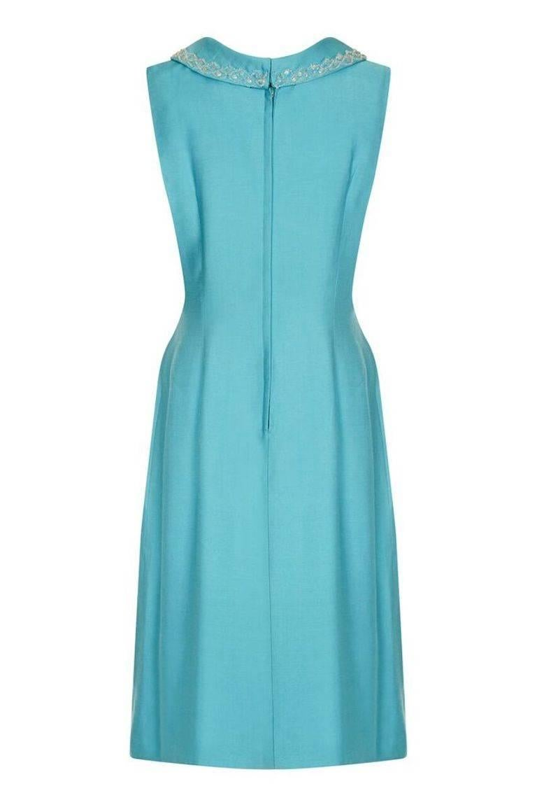 Turquoise Linen Mod Dress With Beaded Collar, 1960s For Sale at 1stdibs