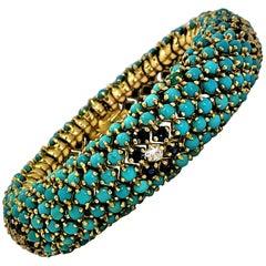 1960s Turquoise, Sapphire and Diamond Flower, Flexible Bombe Bracelet