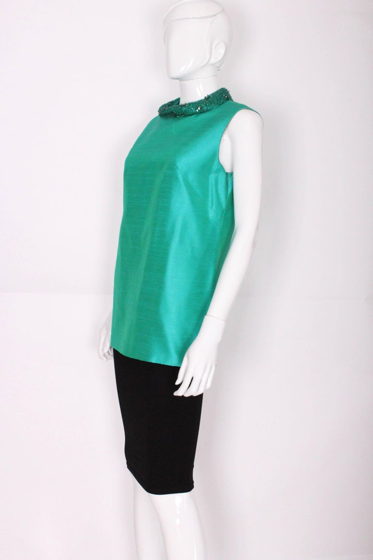 Blue 1960s Turquoise Silk Beaded Collar Shift Top by Peter Barron For Sale