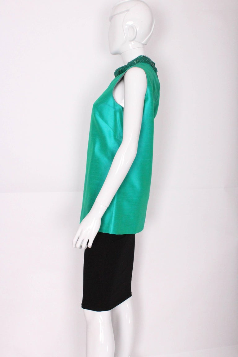 1960s Turquoise Silk Beaded Collar Shift Top by Peter Barron In Excellent Condition For Sale In London, GB