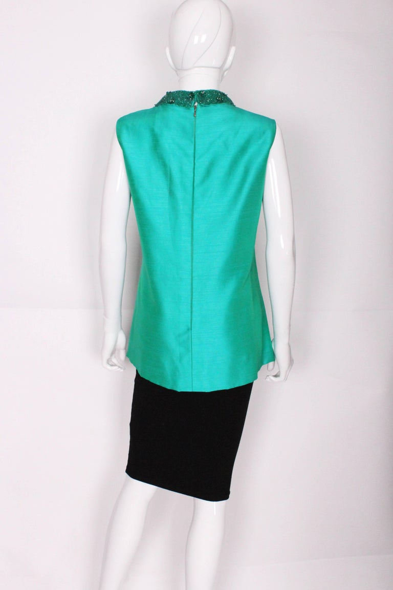 Women's 1960s Turquoise Silk Beaded Collar Shift Top by Peter Barron For Sale