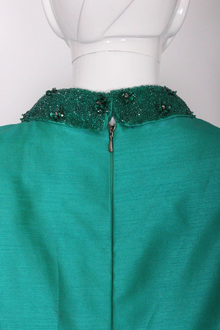 1960s Turquoise Silk Beaded Collar Shift Top by Peter Barron For Sale 3