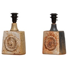 1960s, Two Brutalist Terracotta Pottery Table Lamps by Bernard Rooke, England