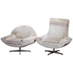 """1960s Two """"Capri"""" Swivel Easy or Lounge Chairs by Johannes Andersen for Trensum"""
