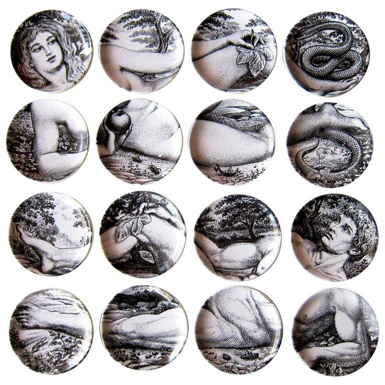 Mid-20th Century 1960s Two Sets of Italian Design Piero Fornasetti Adam and Eve Coasters For Sale