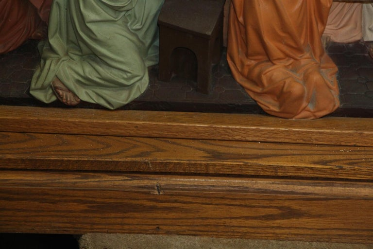 1960s Unique Oak and Highly Detailed Gesso Last Supper Altar Piece from NYC For Sale 2