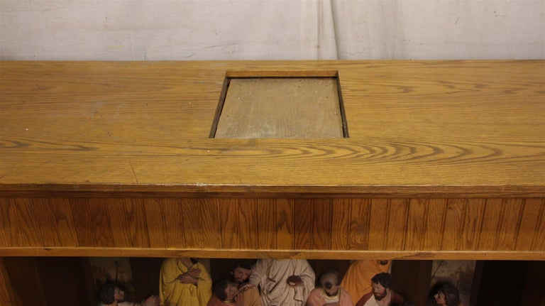 1960s Unique Oak and Highly Detailed Gesso Last Supper Altar Piece from NYC For Sale 3