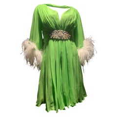 1960s Unlabeled Lime Silk Chiffon Cocktail Dress w/ Jeweled Belt & Ostrich Cuffs