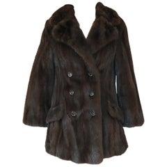1960s Unlabeled Pierre Cardin Deep Chocolate Fur Pea Jacket or Coat