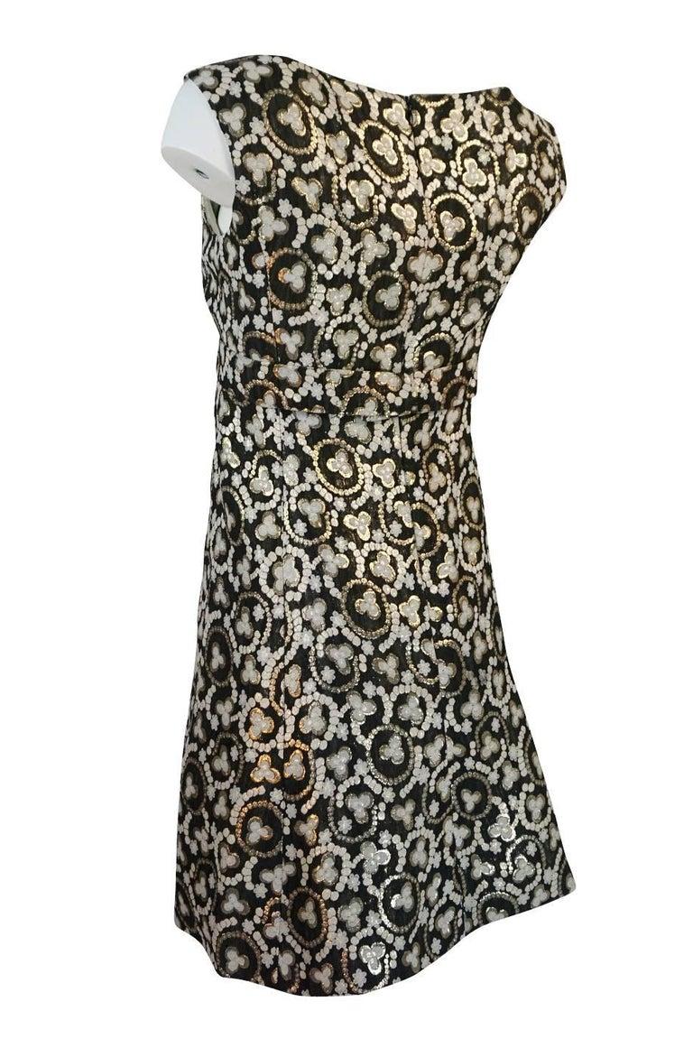Women's Metallic Gold Thread Print Mod Shift Dress, 1960s  For Sale