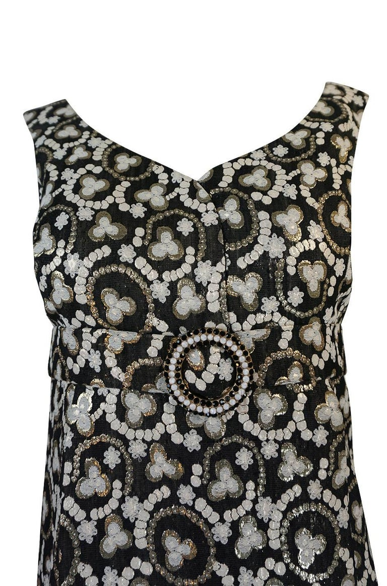 Metallic Gold Thread Print Mod Shift Dress, 1960s  For Sale 1