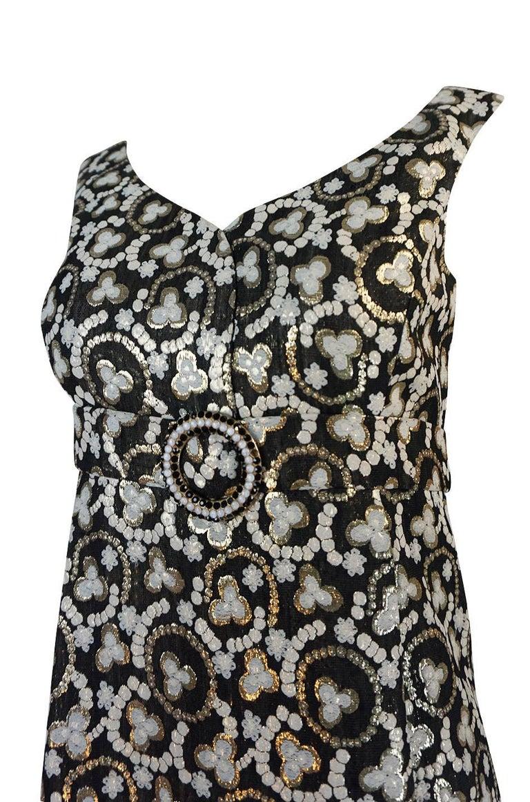 Metallic Gold Thread Print Mod Shift Dress, 1960s  For Sale 2