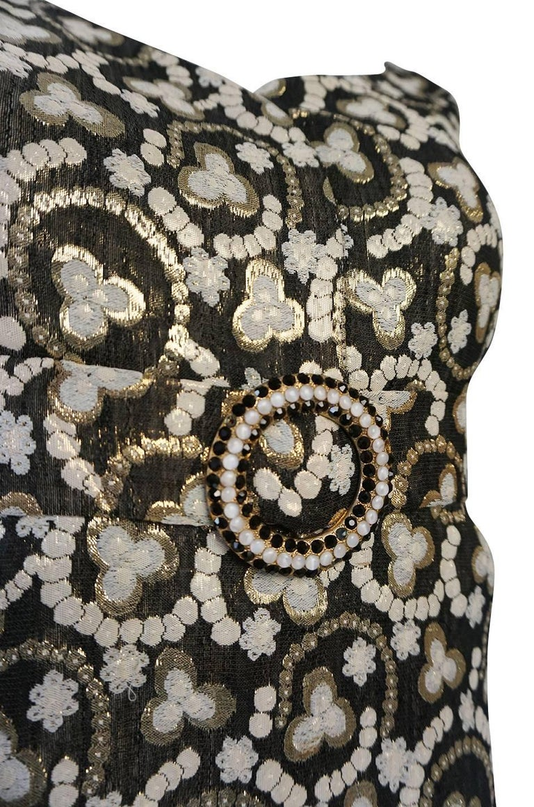 Metallic Gold Thread Print Mod Shift Dress, 1960s  For Sale 3