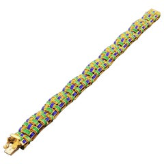 1960s UnoAErre 18K Gold & Enamel Basket Weave Bracelet High Quality Heavy 38.3Gr