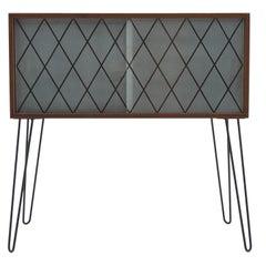 1960s Upcycled Glass Teak Cabinet, Denmark