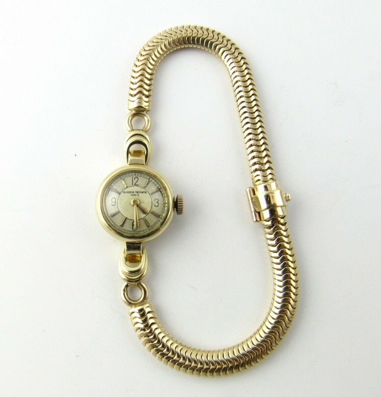 Vintage Vacheron Constantin 14K Yellow Gold Ladies Watch  This authentic Vacheron Constantin Watch has a 14K Yellow gold case and bracelet  Hand winding Movement  17 jewels  The round case is approx. 17mm in diameter, 8mm thick, 19mm in diameter