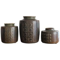 1960s Valdemar Petersen Scandinavian Ceramic Pottery Vases Set