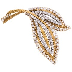 1960s Van Cleef & Arpels Diamond Double Leaf Pin