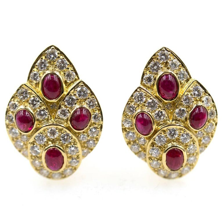 1960s Van Cleef & Arpels Diamond Ruby Estate Earrings In Excellent Condition For Sale In Boca Raton, FL