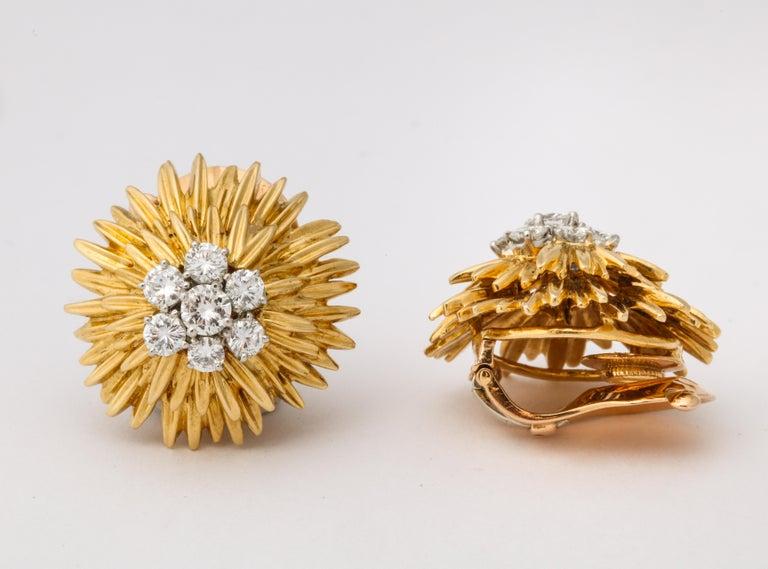 1960s Van Cleef & Arpels Paris Gold Diamond Earrings For Sale 1