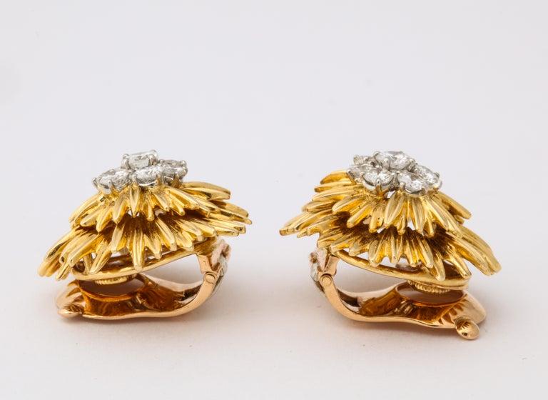1960s Van Cleef & Arpels Paris Gold Diamond Earrings For Sale 2