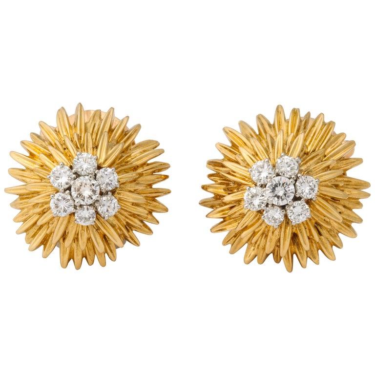 1960s Van Cleef & Arpels Paris Gold Diamond Earrings For Sale