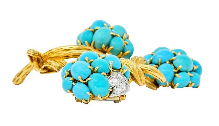1960s Van Cleef & Arpels Pave Diamond Turquoise 18 Karat Gold Floral Brooch 4