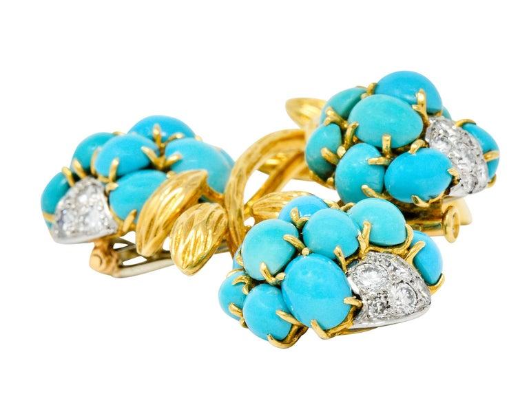 1960s Van Cleef & Arpels Pave Diamond Turquoise 18 Karat Gold Floral Brooch 5
