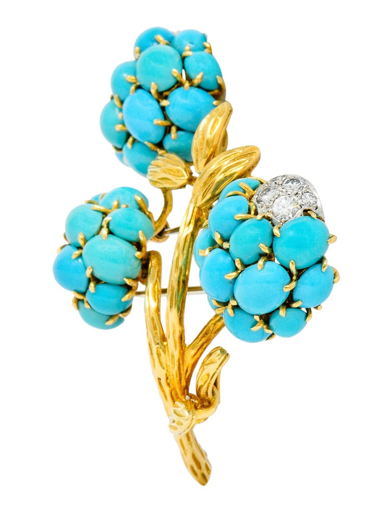 Contemporary 1960s Van Cleef & Arpels Pave Diamond Turquoise 18 Karat Gold Floral Brooch