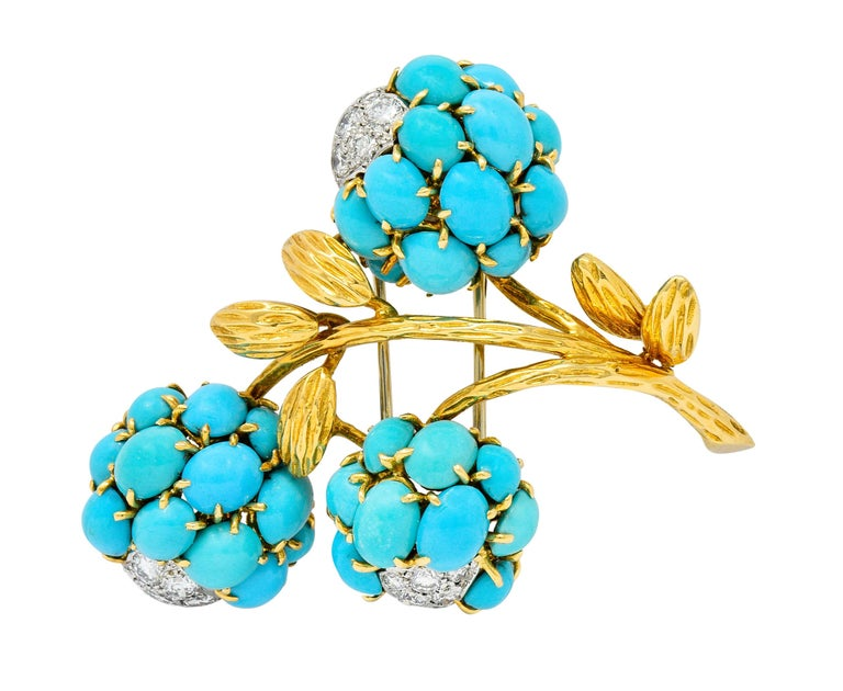 1960s Van Cleef & Arpels Pave Diamond Turquoise 18 Karat Gold Floral Brooch In Excellent Condition In Philadelphia, PA