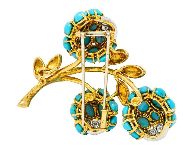 Women's or Men's 1960s Van Cleef & Arpels Pave Diamond Turquoise 18 Karat Gold Floral Brooch