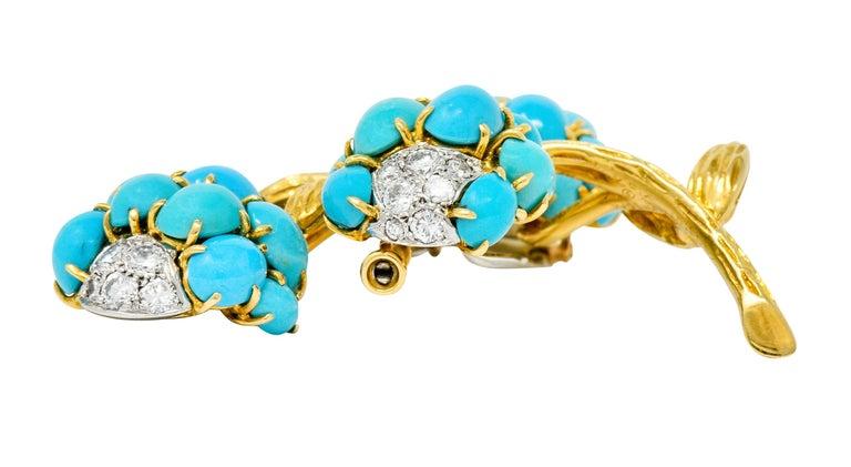 1960s Van Cleef & Arpels Pave Diamond Turquoise 18 Karat Gold Floral Brooch 2