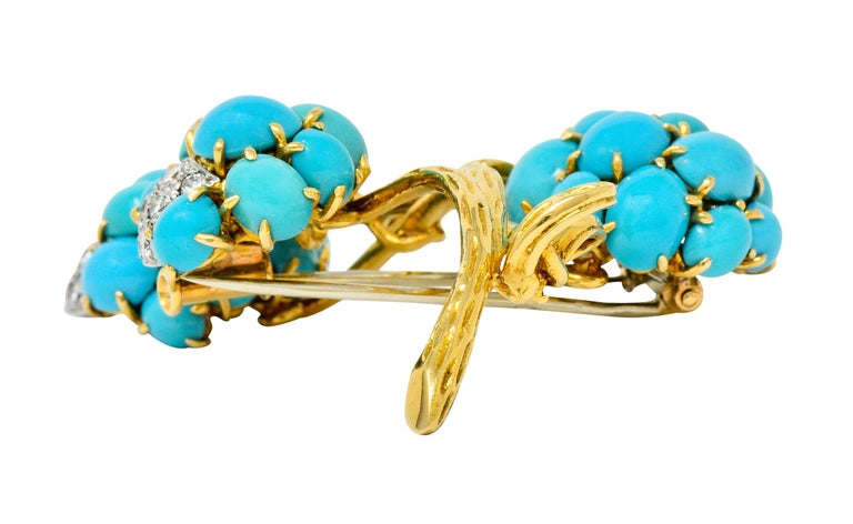 1960s Van Cleef & Arpels Pave Diamond Turquoise 18 Karat Gold Floral Brooch 3