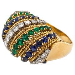 1960s VCA Van Cleef & Arpels Emerald Sapphire Diamond Ring