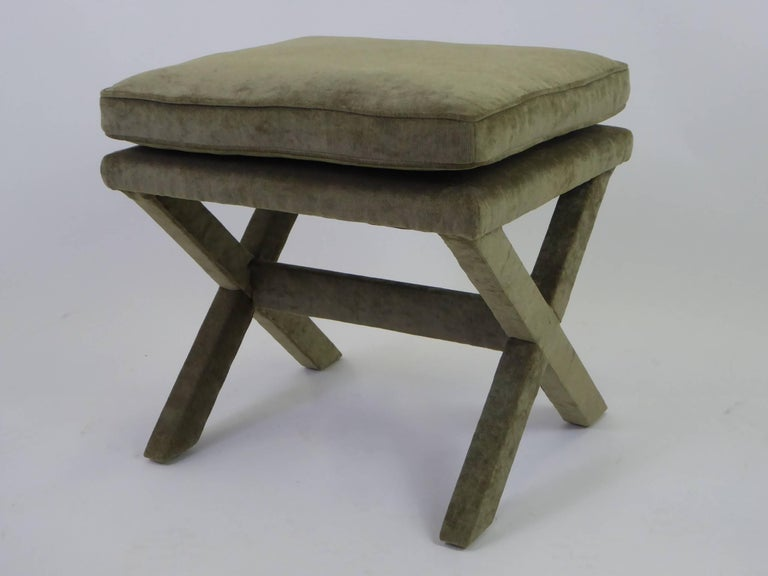 1960s Velvet X-Bench Stool in the Style of Billy Baldwin In Excellent Condition For Sale In Miami, FL